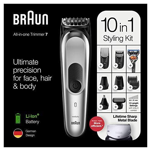Braun Series 7 MGK7220 Zilvergrijs - Alles-in-een Trimmer Baardtrimmer, Haartrimmer En Bodygroomer Met 8 Opzetstukken