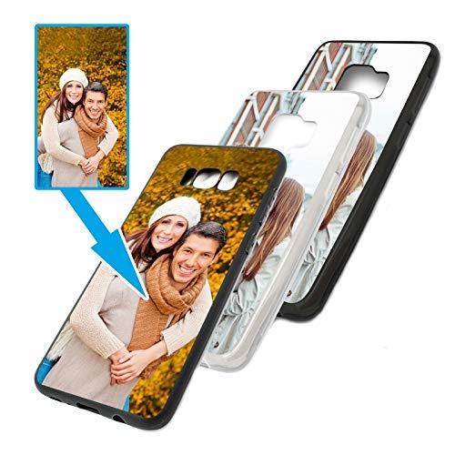PixiPrints Foto-Handyhülle mit eigenem Bild kompatibel mit Samsung Galaxy S7, Hülle: TPU-Silikon in Schwarz, personalisiertes Premium-Hülle selbst gestalten mit flexiblem Druck