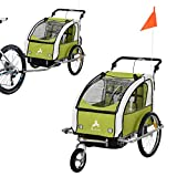 Aosom Elite 360 Swivel 2-in-1 Double Child Two-Wheel Bicycle Cargo Trailer and Jogger with 2 Safety Harnesses, Green