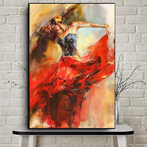 wZUN Pintura al óleo Abstracta de la Bailarina de la Bailarina en el Cartel de la Lona y Imagen Mural del Grabado de la Sala de Estar 60x80 Sin Marco
