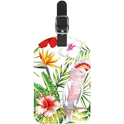 TIZORAX - Etiquetas para equipaje (piel), diseño de loro de pie sobre...