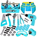 LOYO Kids Tool Set - Pretend Play Construction Toy with Tool Box Kids Tool Belt Electronic Toy Drill Construction Accessories Gift for Toddlers Boys Ages 3 , 4, 5, 6, 7 Years Old (Blue) from LOYO