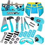 LOYO Kids Tool Set - 30Pcs Pretend Play Tool Toys with Kids Tool Belt, Electric Toy Drill, Construction Tool Box Kit for Toddlers Boys