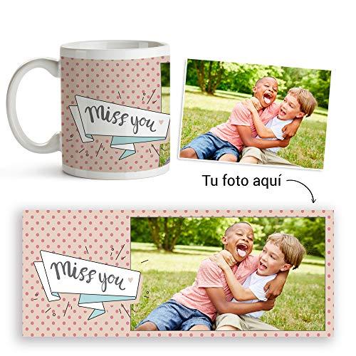 Fotoprix Taza Personalizada con Foto para Regalar a Tus Amigos | Regalo Original compañeros de Clase | Varios diseños (Miss You)