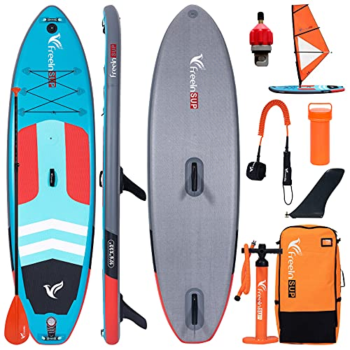 Freein Stand Up Paddle Board Windsurf SUP Inflatable Stand Up Paddle Board 10'6x33 x6 Green Package - Sail Base, Dual Pump, Paddle, 2 Detachable Fins, Adaptor Camera Mount, Backpack