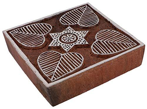 Guru-Shop Indischer Textilstempel, Stoffdruckstempel, Blaudruck Stempel, Holz Model - 10x10 cm Mandala 4, Braun, Indische Holzstempel