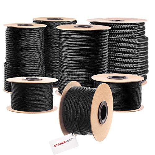 Seilwerk STANKE Polypropylen Seil geflochten PP Seil Polypropylenseil SCHWARZ Festmacher Flechtleine Tauwerk Tau Reepschnur, 6mm, 50m