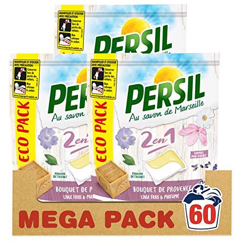 Persil Lessive Capsules 2 en 1 Bouquet de Provence Eco Pack 60 Lavages (Lot de 3x20 Lavages)