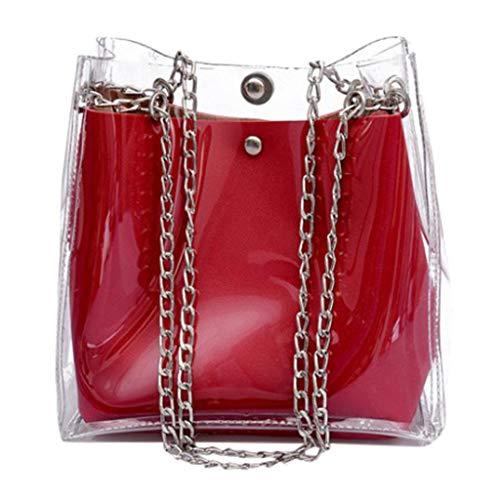 VJGOAL Schultertasche Damen Frauen Mädchen Mode Wild Beuteltasche Mini Kette Durchsichtig Kunststoff Geleepackung (Rot, One Size)