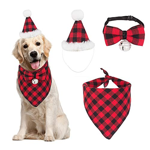 Christmas Dog Bandana Hat Bow tie Set - Classic Plaid Pet Scarf Triangle Bibs Dog Christmas Costume Decoration Accessories for Small Medium Large Dogs Cats Pets