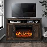 Farmhouse Barn Door TV Stand for TVs Up to 55 inch,Entertainment Center and Media Console with 2 Storage Cabinets and Open Shelves for Living Room(Rustic Brown)