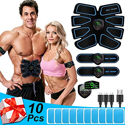 Nitoer Bauchtrainer Bauchmuskeltrainer elektrisch Muskelstimulator EMS Trainingsgerät mit Led-Anzeige Geeignet Damen & Herren