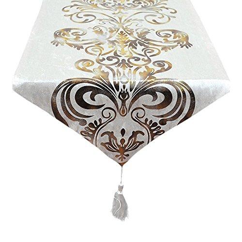 Tong Yue - Stil Barock Retro Quasten Tischläufer für Hochzeit Dekoration, Textil, weiß, 30x180cm