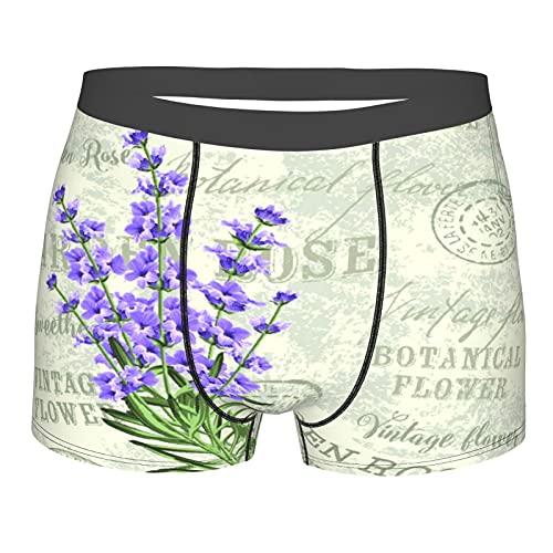 Nongmei Herrenunterwäsche, The Lavender Flowers Vintage,Boxershorts Atmungsaktive Komfort Unterhose Größe S