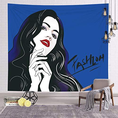 asdas Tapestry,Mandala Impression Art India 3D Printing Trendy Girl Polyester Ocean Decoration Wave Picnic Blanket Dormitory Living Room Bedroom Study Room Window Wall,Trendy Girl,10070Cm