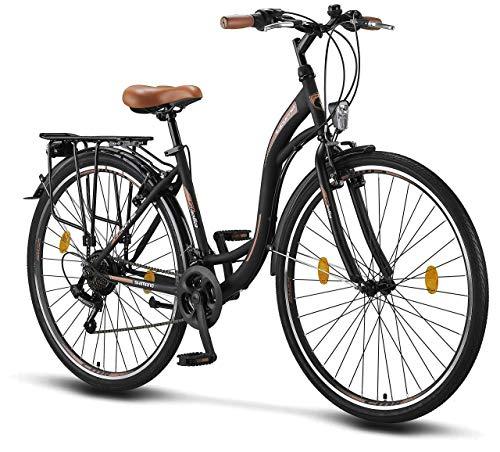 Stella 28 Pollici Bici da Donna, da 160 cm, Bicicletta Bici Citybike CTB Donna Vintage Retro, Luce Bici, Cambio Shimano 21 velocità, City Bike da Donna, Bici da Donna,Bici da Città
