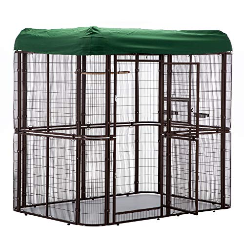 wonline Large Walk-in Bird Cage with green cover top