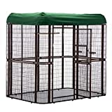 wonline Large Metal Birdcage Walk in Aviary with PVC Top Cover Parrot Cockatiel House Finch House