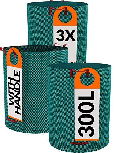 3er Gartensack Set 300L - 4 Reißfeste Griffe - Wiederverwendbarer - Robustes PP Gewebe