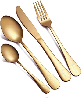 Flatware Set, 24-Piece Gold Silverware Set Stainless Steel Cutlery Set Service for 6 Dishwasher Safe Tableware for Home Kitchen Hotel Restaurant