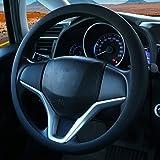 Coprivolante elegante in morbido silicone antiscivolo, decorazione per il volante dell'auto (Nero)