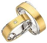 JC Trauringe 925er Sterling Silber Gold Plattiert Paar-Preis I Ehe-Ringe in bi-color mit kostenloser Gravur I Verlobungsringe 6,5 mm breit inkl. Etui-Box I Damen-Ring mit Stein I Gr. 48 bis 72 I JC010