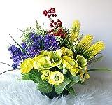 roselynexpress Composition de de Fleurs artificielles lesté Totalement Ciment pour cimetière. Haut/24cm - Diam/31cm
