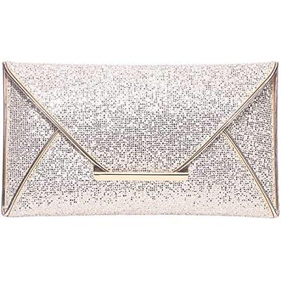 St. Jubileens Women Glitter Sequins Envelope Evening Bag Handbag Party Bridal Clutch Purse