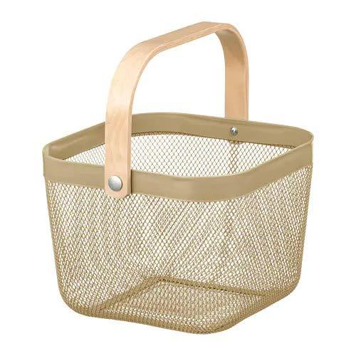 IKEA/イケア RISATORP :バスケット25x26x18 cm ライトオリーブグリーン(204.805.36)