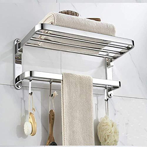 HLY Gancho para toallas, organizador de ducha Marco de acero inoxidable sin perforaciones Perchero para toallas de baño Colocación de artículos de tocador individuales Estante de almacenamiento de co