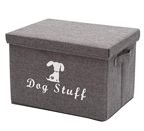 Linen Storage Basket Bin Chest Organizer - Perfect for Organizing Dog Apparel & Accessories Storage, Dog Shirts, Dog Coats, Dog Toys, Dog Clothing, Dog Dresses, Gift Baskets - Gray