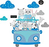 greenluup Wandtattoo Wandsticker Kinderzimmer Baby Babyzimmer Auto Bus Tiere Blau Grau Wolken Wolkenset (w26)