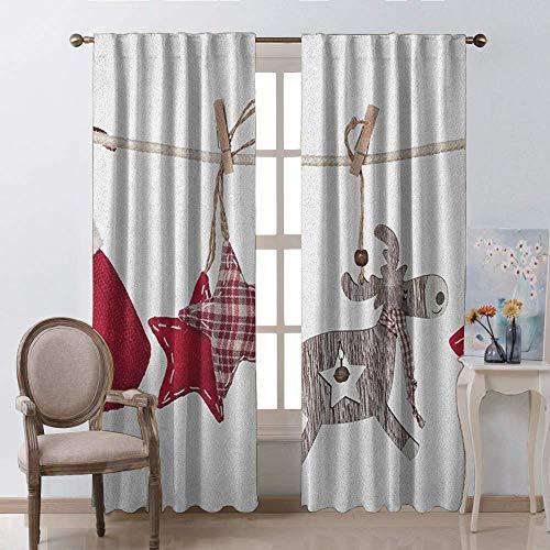 Decoratieve gordijnen voor keuken ramen, Kerstmis Rode Kerstman Hoeden staaf Pocket venster gordijnen