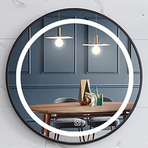 Miroir Salle De Bains avec Eclairage 80 Cm, Miroir Maquillage Lumineux Rond Couleur LED Blanc Froid avec Interrupteur Tactile Anti-buée pour Maquillage Chambre Maison
