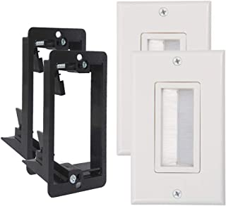 Wi4You Brush Wall Plate White WI1006WH-2 Deco Bristle Single Gang Wallplate with Mounting Bracket for Low Voltage Cable Pass Through (White, 2 Pack)