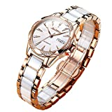 Women's Stainless Steel Automatic Watch White,Rose Gold Ceramic Watch for Women Day-Date, Small Wrist Waterproof Luxury Diamond Dial Casual Ladies Dress Watch No Battery Sapphire Crystal Glass