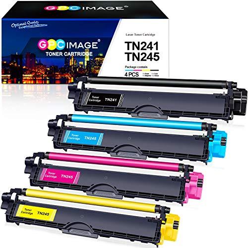 GPC Image TN241 TN245 Cartucho de tóner Compatible para Brother DCP-9020CDW DCP-9015CDW HL-3140CW MFC-9330CDW MFC-9340CDW MFC-9140CDN HL-3150CDW HL-3170CDW(1 Negro,1 Ciano,1 Magenta,1 Amarillo)