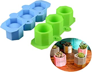 Plant Flower Pot Silicone Molds Ceramic Clay Mold DIY Succulent Plants Concrete Planter Vase Molds Handmade Craft Candles Make Cakes Pizza Jelly Microwave and Freezer Mould(Green-Blue)