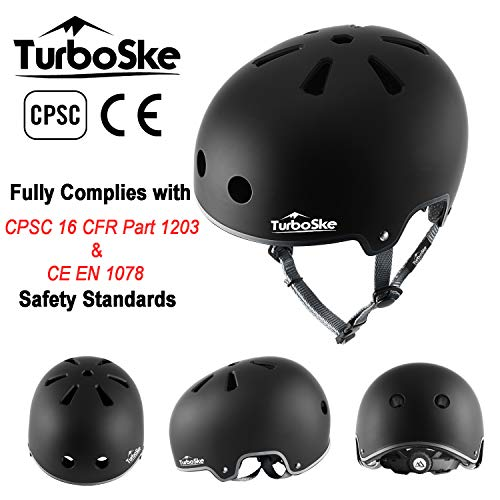 TurboSke Skateboard Helmet, BMX Helmet, Multi-Sport Helmet, Bike Helmet for Kids, Youth, Men, Women (S/M, Black&Gray)