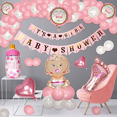 Colmanda Babyshower Deko, 35 Stück Babyparty Deko für Mädchen Babyparty Deko Mädchen Set, Baby Folienballon mit Geburtstagskerze, Its a Girl Heliumballon Babyparty für Baby Babydusche Dekorations