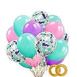 40 Piezas de Globos, Globos de Confeti, Púrpura de 12 Pulgadas, Rosa, Verde Menta, Globos de Globos de Confeti Para Decoraciones de Bodas, Decoraciones Para Fiestas, Decoraciones de Cumpleaños