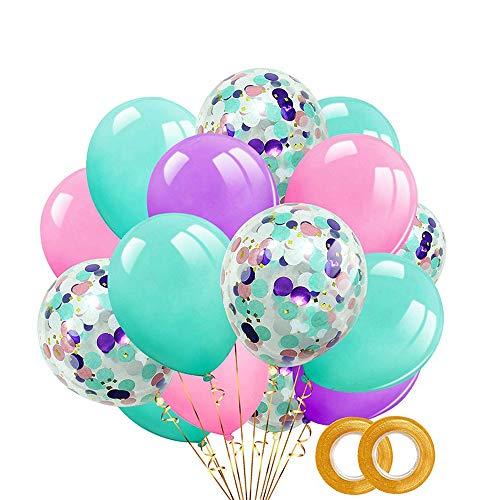 A+ 40 Stück Ballons, Konfetti Ballon, 12 Zoll Lila, Rosa, Mintgrüne, Konfetti Ballon Partyballon für Hochzeit Geburstagsdeko, Party-Deko,Valentinstag Deko