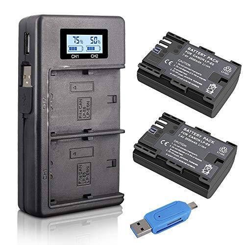 Palo LP-E6 LP-E6N (2-Pack 2000mAh) Batería de reemplazo y Cargador de batería Rapid Dual USB para Canon EOS 5D Mark II/III/IV, 5DS, 5DS R, 6D, 7D, 7D Mark II, 60D, 60Da, 70D, 80D, XC10 - Negro