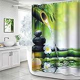 NIBESSER Duschvorhang Anti-Schimmel wasserdichter Textil Duschvorhang Bambus & Stein Digitaldruck mit 12 Duschvorhangringe für Badezimmer (180cmx200cm)