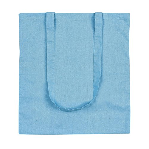 eBuyGB Lote de 10 bolsas de lona de algodón para la compra y playa de 42 cm, azul claro, 42 cm, Bolsa de tela y de playa