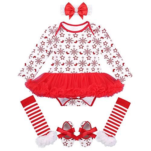 Freebily Ropa Navidad Bebé Recién Nacidos Traje de Santa Invierno Disfraz Navideño Año Nuevo Conjunto Bebé Algodón Tutú Vestido Princesa Zapatos Calcetines Rayados Rojo&Blanco 6-12 Meses