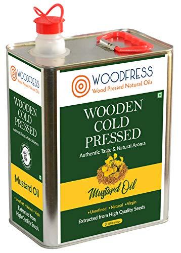 WOODFRESS Cold Pressed Mustard Oil 3L - Sarson ka Tel (Mohari / Wood Pressed / Lakdi Ghani / Marachekku) for Cooking