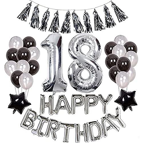 Decoraciones para Cumpleaños,Set Decoraciones para Niños y Niñas,Globos de Fiesta para Niños,Decoraciones De Fiesta De Cumpleaños Negra,Globos para Boda,Globos de Látex,Globos de Plata,Globos Negros.