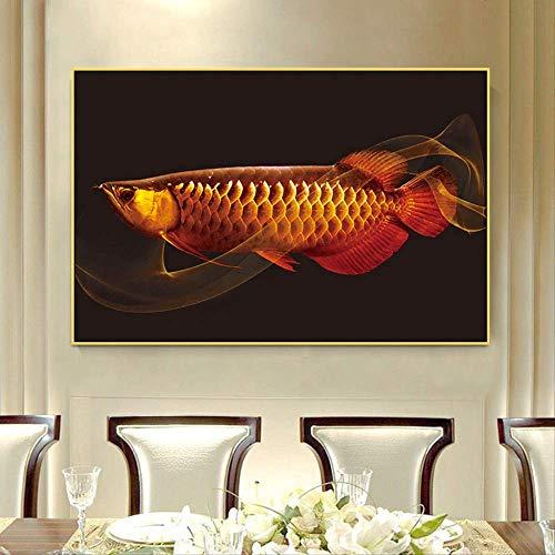 YYWK diamantschilderij 5D handgemaakte slaapkamer woonkamer rood drakenvis patroon schilderij rond diamant zonder doos 70 x 50 cm Vollbohrer