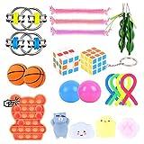 Colmanda 22 piezas Juguetes Sensoriales, Kit Juguetes Antiestrés, Juguetes Sensoriales Suministros para Regalos Fiesta, Alivio del Estrés para Niños, Alivia Estrés y Ansiedad Fidget Toy(Colores)